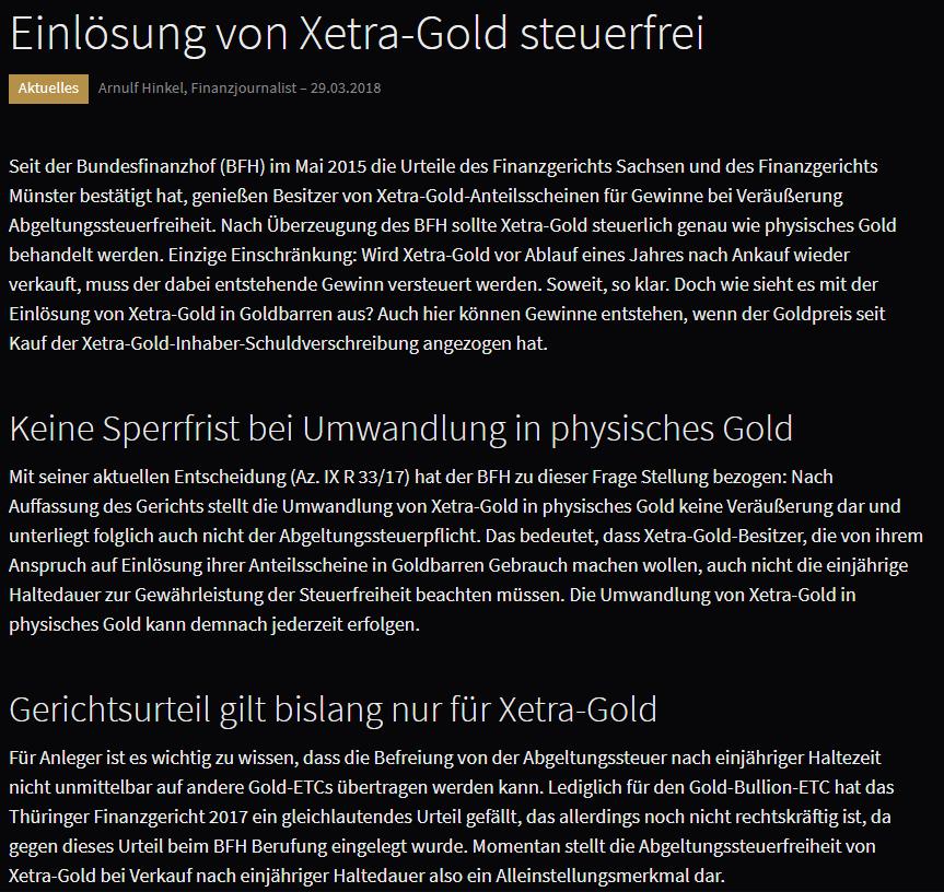 Xetra Gold steuerfrei- Urteile