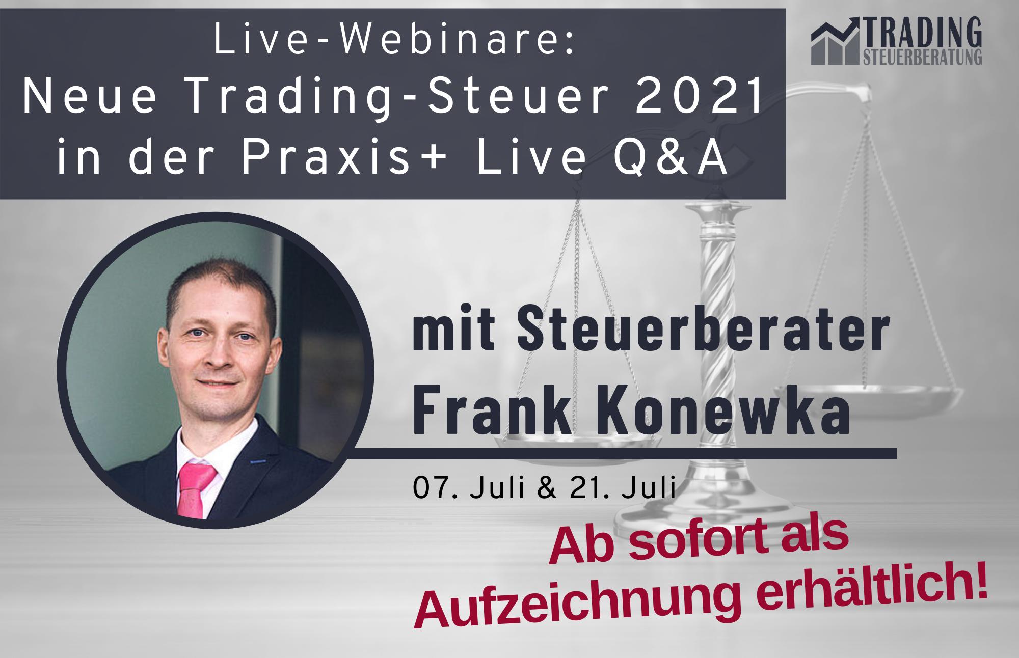 Live Webinare Trading Steuer 2021